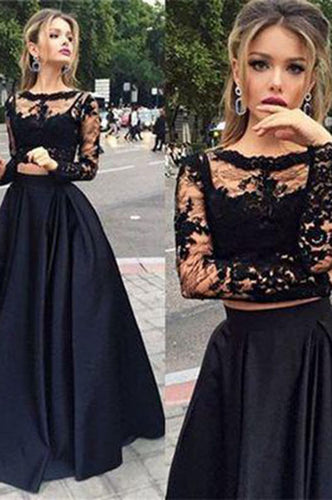 Black two pieces long sleeve prom dress,A-line lace two pieces long prom dress,grad dresses PH104
