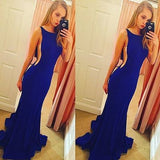 Backless Elegant Mermaid Royal Blue Scoop Sleeveless Sexy Evening Dresses For Teens PH37