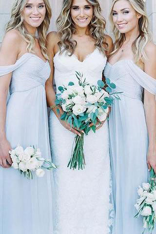 Mismatched Different Styles Chiffon Light Blue A Line Floor-Length Cheap Bridesmaid Dress PM684