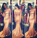 Sequins Prom Dresses Long Sleeves Simple Long Mermaid Evening Gowns PH152