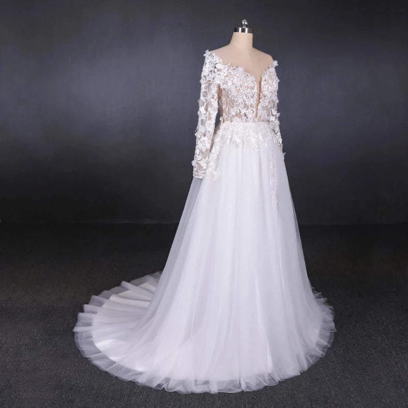 Long Sleeves White A-line Tulle Beach Wedding Dresses with Lace Appliques, Bridal Dress W1140