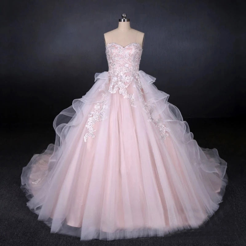 Ball Gown Strapless Sweetheart Wedding Dresses with Lace Applique, Tulle Prom Dresses W1135