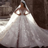 Stunning Long Sleeve Ball Gown 3D Flowers Wedding Dresses, Long Wedding Gowns W1164