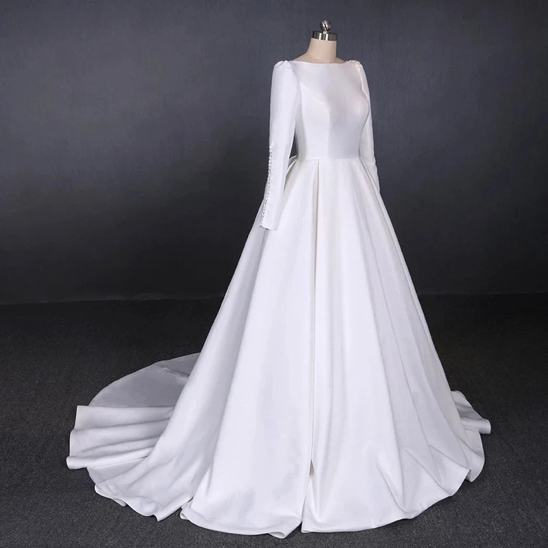 Ball Gown Long Sleeve White Satin Wedding Dresses, Long Simple Wedding Gowns W1152