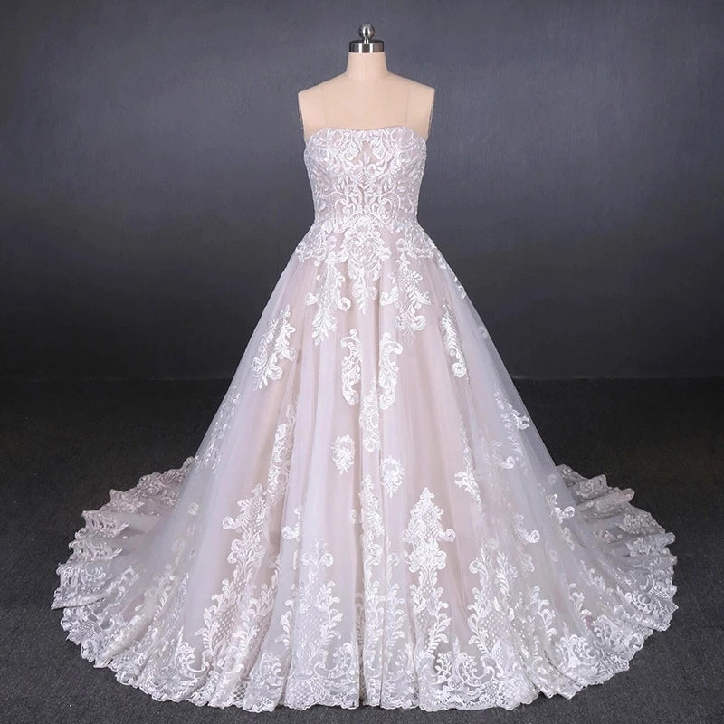 Ball Gown Strapless Wedding Dresses with Lace Applique, Lace Up Bridal Dress W1144