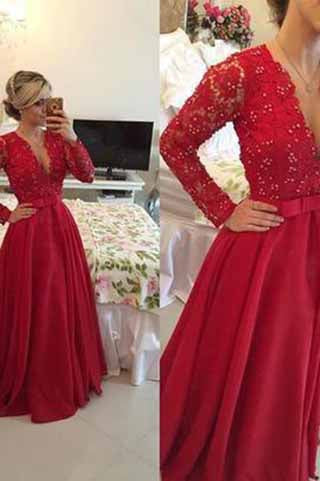 Open Back Lace Long Sleeve Deep V-Neck A-Line Button Long Cheap Prom Dresses uk PM954