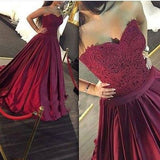 Gorgeous Long Sweetheart Strapless Ball Gown Lace Formal Dress Burgundy Prom Dresses