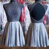 A-Line Open Back High Neck Beads Homecoming Dress For Teens PM333