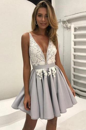 Light Lavender A-Line Deep V Neck Short Sleeveless Appliques Pleats Cheap Homecoming Dress PM210