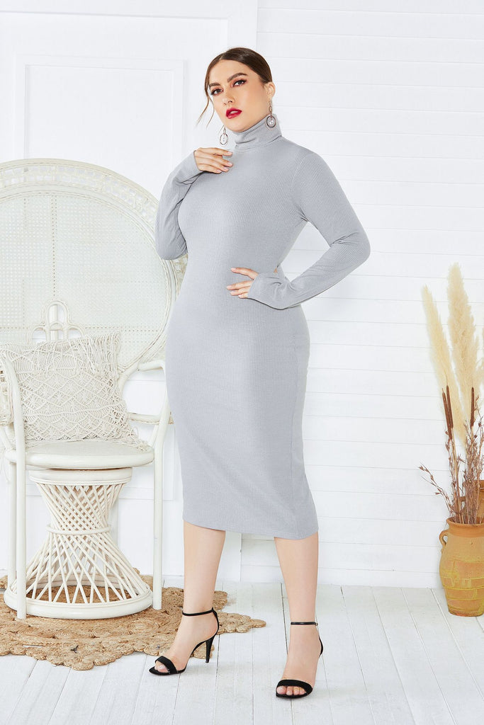 Elegant Plus Size Long Sleeve High Neck Casual Dresses, Unqiue Prom Dresses FP8006