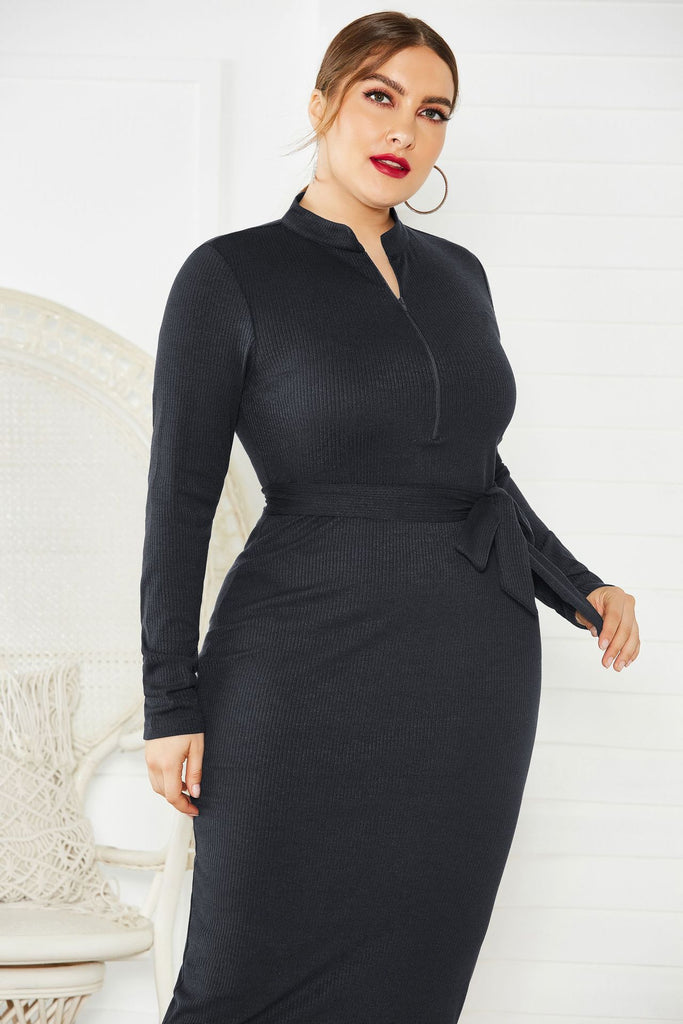 Plus Size Long Sleeve Black Mermaid Prom Dresses, Tea Length Formal Dresses FP5237