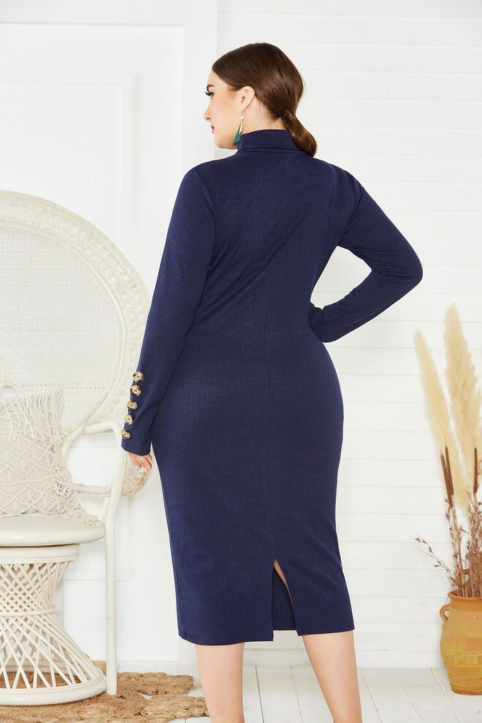 Fashion Sweater Maxi Dress Long Sleeve Mermaid Fit High Neck Knit Dress FP8002