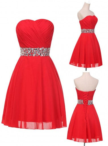 Elegant Sweetheart Sparkle Red Short Prom/Homecoming Dress with Beading PM467