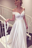 Elegant V-neck Cap Sleeves A-line Satin Wedding Dress Bride Gown PW390