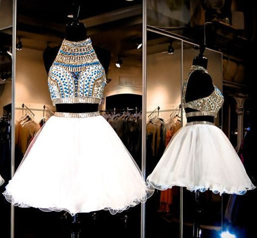 White Tulle Two Piece Beading Short Sexy Bling Open Back Halter Homecoming Dresses PM135