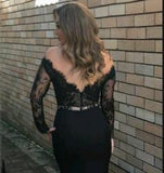 2018 New Style Mermaid Long Sleeves Black Lace Scoop Long Evening Dresses uk PM762