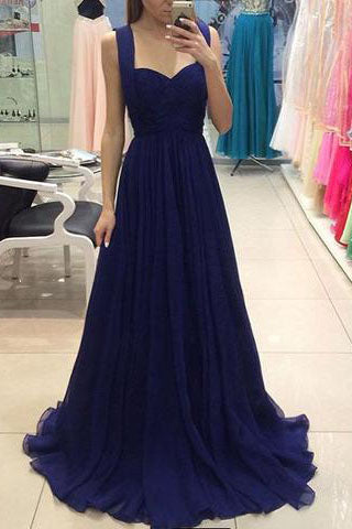royal blue chiffon long prom dress, blue bridesmaid dress,Prom Dresses uk PM667