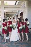 A Line Burgundy Lace Cap Sleeve Bridesmaid Dresses, Knee Length Short Wedding Party Dresses BD1028