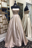 Sweetheart strapless light grey simple long A-line prom dress for teens, graduation dress