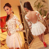 Sexy See Through Long Sleeve Lace Sexy White Appliques Homecoming Dresses PM957