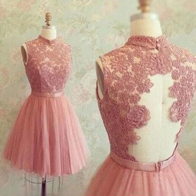 Short Prom Dresses uk,High Neck Sleeveless Tulle Pink Lace Homecoming Dress pst1062