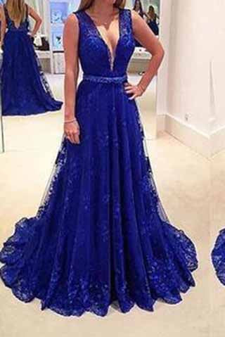 Elegant Royal Blue Lace Backless V-Neck Sleeveless A-Line Long Sexy Prom Dresses uk PM949