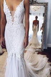 Appliques V-Neck Elegant Mermaid Open-Back Wedding Dresses PW281