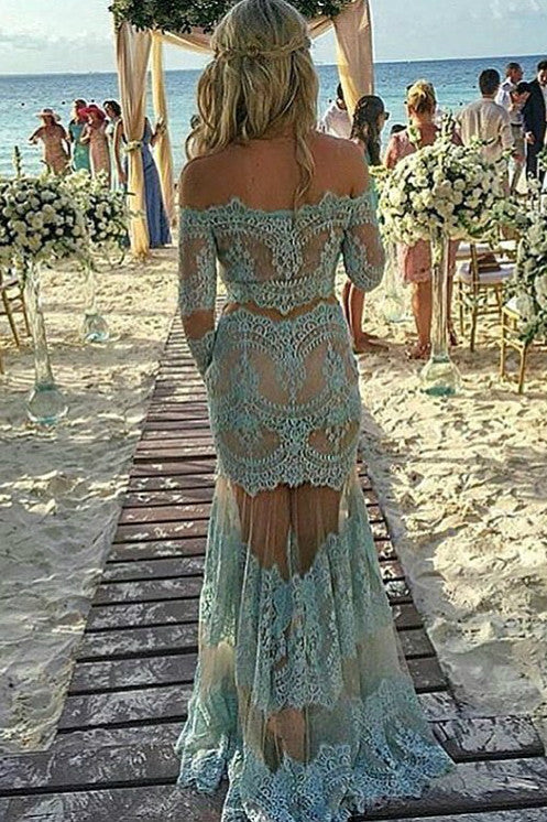 Light blue lace off-shoulder long sleeves see-through long prom dresses,evening dress