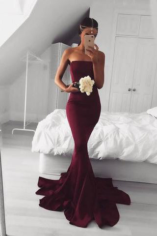 2017 New Sexy Mermaid Burgundy Long Strapless Sleeveless Floor Length Prom Dresses uk PM767