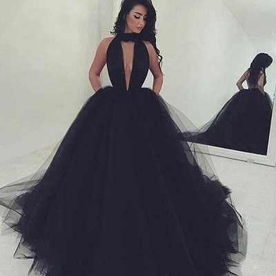 2018 Elegant Black Ball Gown Sexy Backless Long Sleeveless V-Neck Tulle Prom Dresses uk PM993