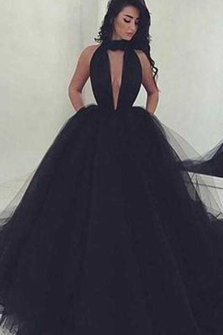 Black Ball Gown Prom Dresses Sexy Backless Long Prom Dress Black