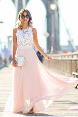 Modest Chiffon Long Blush Pink White Lace A-Line High Neck Floor-Length Prom Dresses uk PM192