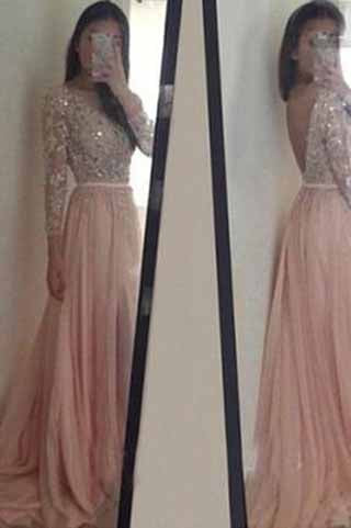 Long Sleeve Backless Long Sexy Lace Pink Beads A-Line Scoop Prom Dresses uk PM943