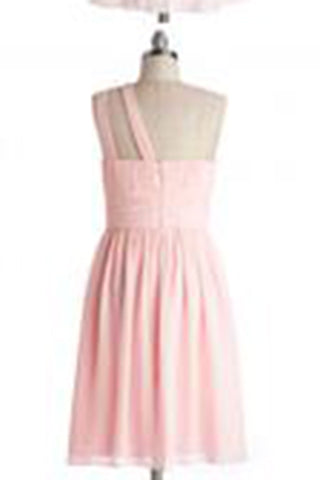 Simple Dress A-line One-shoulder Pink Chiffon Bridesmaid Dresses, Reception Dresses PM473