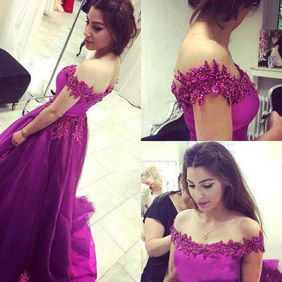 Off the Shoulder Real Made Charming Prom Dresses,Long Evening Dresses,Prom Dresses On Sale,S209