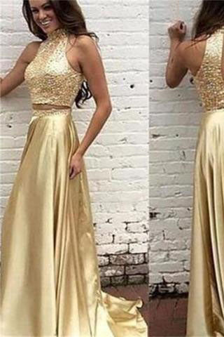 New Arrival Gold Two Pieces High Neck Pretty Sparkly Evening Party Prom Dress,PD0062
