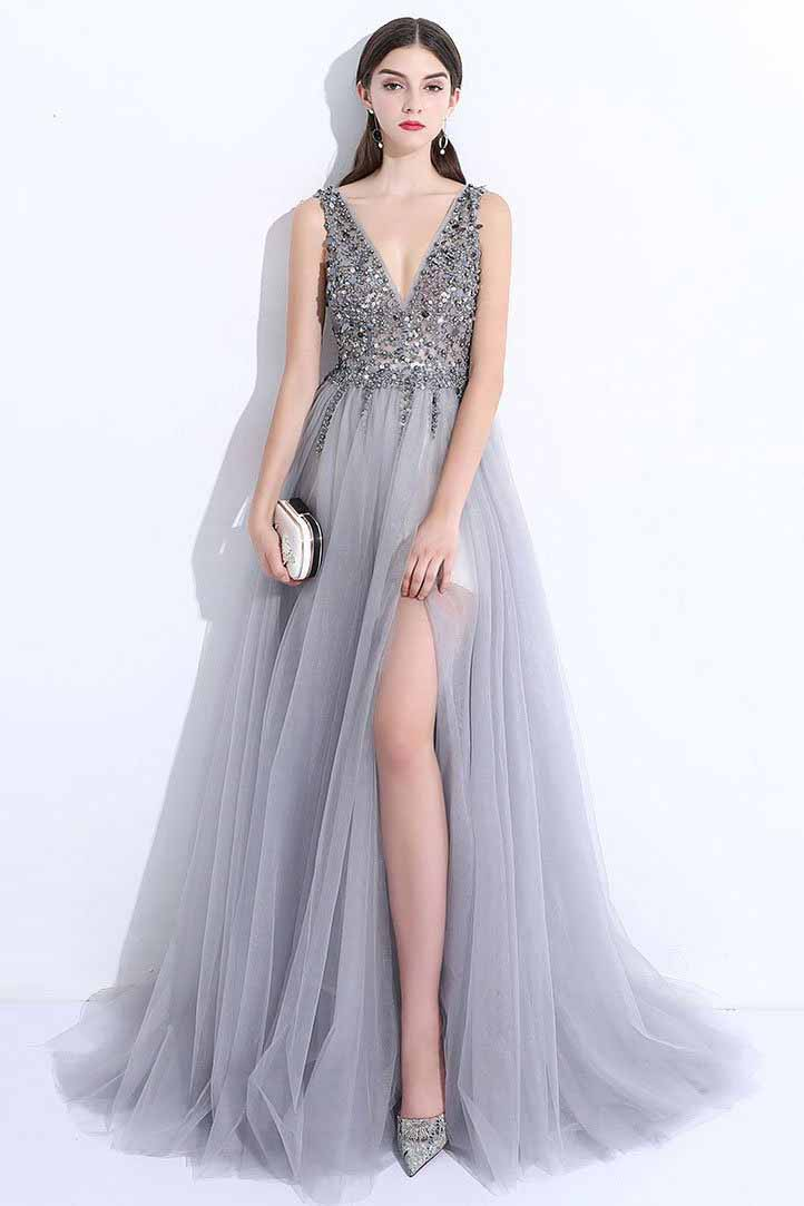 2018 New V Neck Grey Tulle Beaded Backless Prom Dresses Uk With