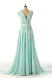 Hot Sale A-line V-Neck Beads Sleeveless Chapel Train Empire Green Chiffon Prom Dresses uk PM803