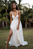 Charming Lace Long A-line Spaghetti Straps Ivory V-Neck Beach Wedding Dress UK PH416