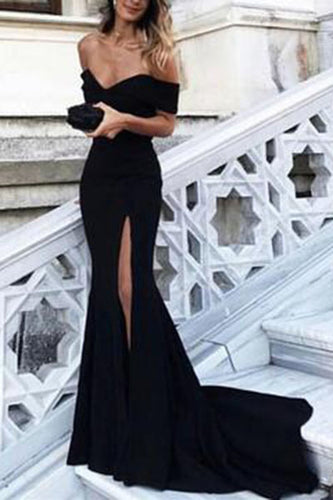 Sexy Leg Slit Long Mermaid Off-the-Shoulder Black Sweetheart Strapless Prom Dresses uk PH180