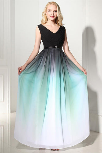 A-Line Ombre Long Chiffon Formal Dress,V-Neck Black Sleeveless Lace up Prom Dresses UK PH371