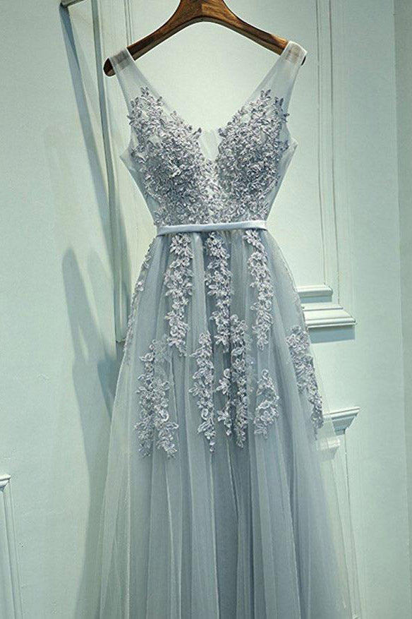 A-Line Grey Tulle with Lace Appliqued V-Neck Long Sleeveless Floor-Length Prom Dresses uk PM385