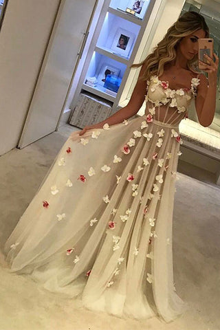 2018 A-Line Tulle Sweetheart Spaghetti Straps Pretty Appliques Backless Prom Dresses UK PH344