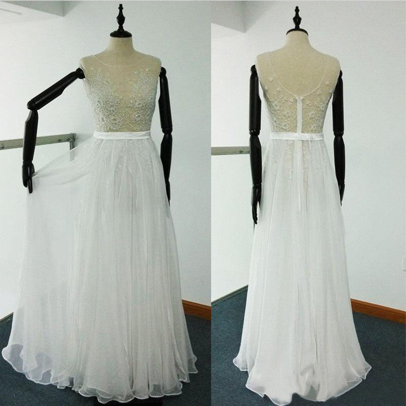 Sheer Beach Ivory Scoop A Line Beaded Embroidery Tulle Chiffon Wedding Dresses UK PH351