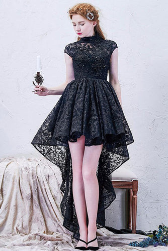 A-line High Neck Tulle Asymmetrical Lace Black Open Back High Low Modern Prom Dresses uk PM778