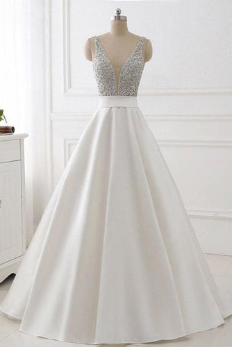 Stunning Ivory A-Line V-Neck Satin Backless Sleeveless Evening Prom Dress with Beaded UK PH483