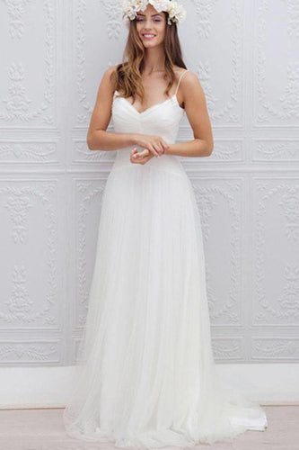 V-Neck Long Tulle A-line White Spaghetti Straps Backless With Bodice Wedding Dresses PH395C
