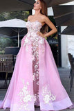 New Style A-Line Sweetheart Straps Pink Tulle Prom Dresses UK with Lace Appliques PH378