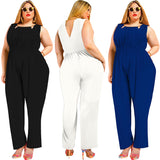 Round Neck Black Sleeveless Plus Size Jumpsuit with Pockets FP3101