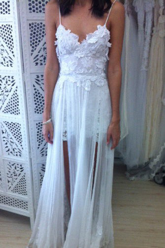 8031f46ac04 Stunning Backless White Lace Boho Spaghetti Straps Chiffon Beach Wedding  Dress with Lace Lining PM804